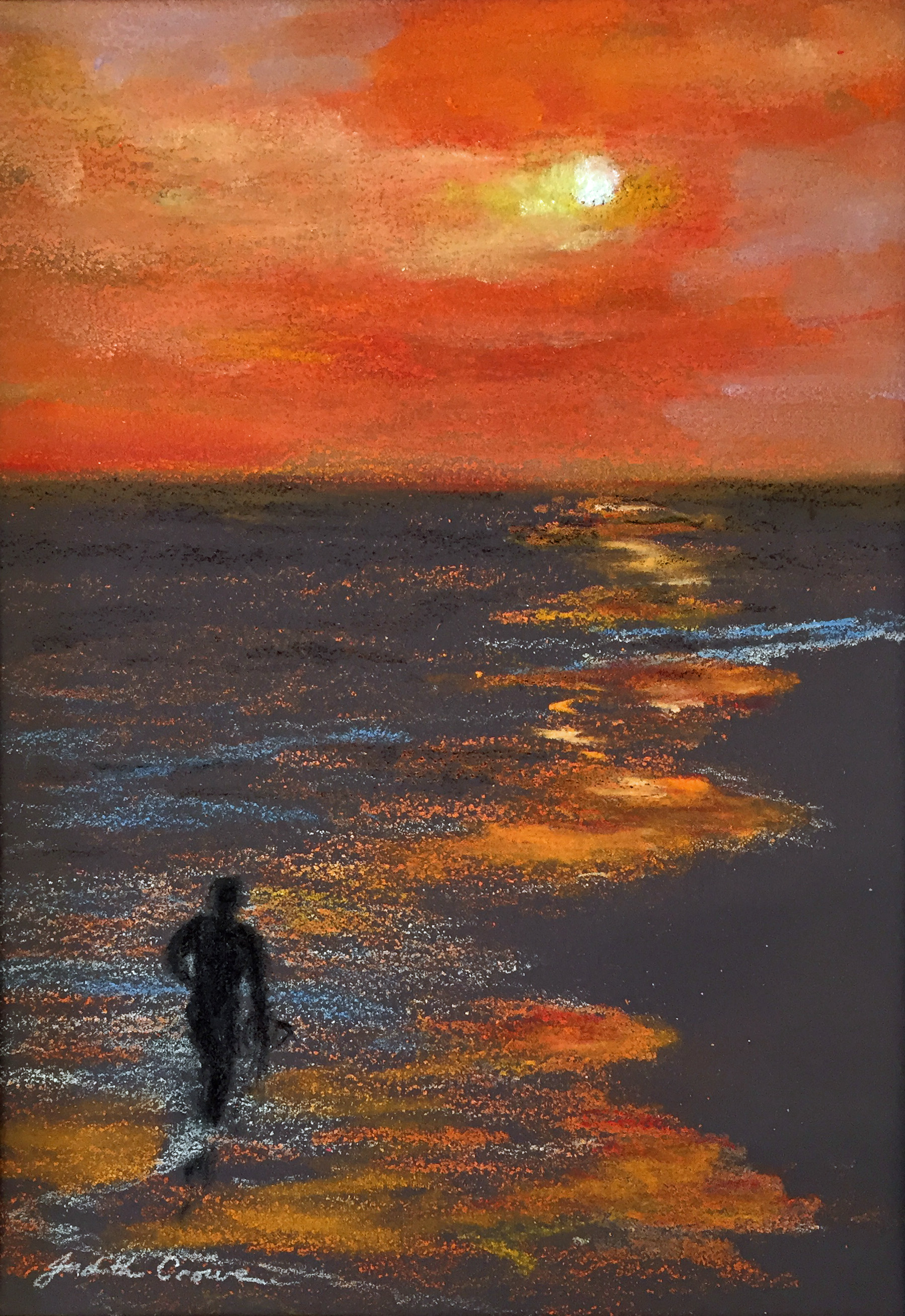 Surfer at Sunset colored pencil & pastel